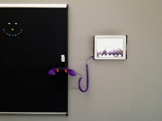 Our first attempt at installing the Purple Phone at the J-school.